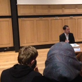 Photo: Tareq Shrourou at Cambridge University event
